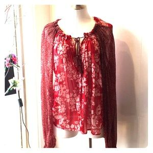Free People Red Floral Boho Blouse